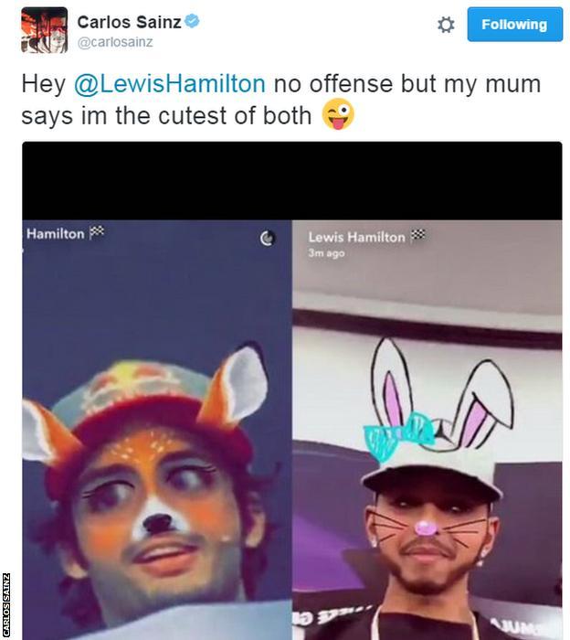 Carlos Sainz tweet to Lewis Hamilton