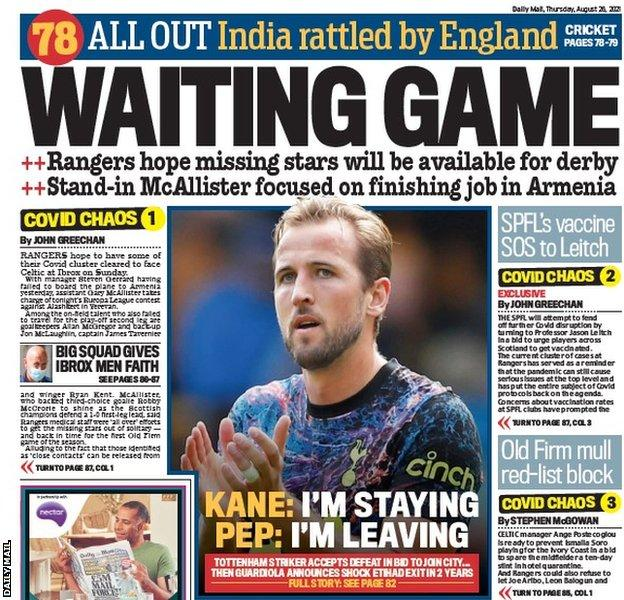 The back page of the Scottish Daily Mail on 260821