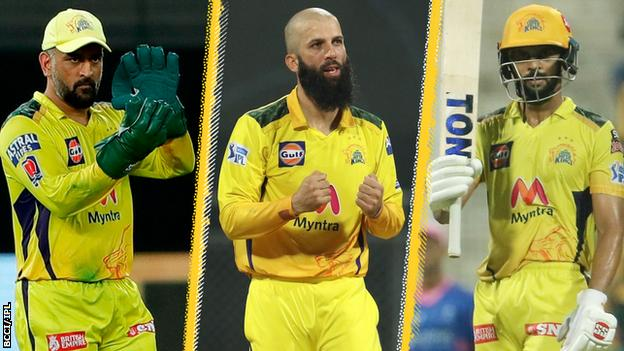 A split image of Chennai Super Kings players MS Dhoni (left), Moeen Ali (centre) and Ruturaj Gaikwad (right)