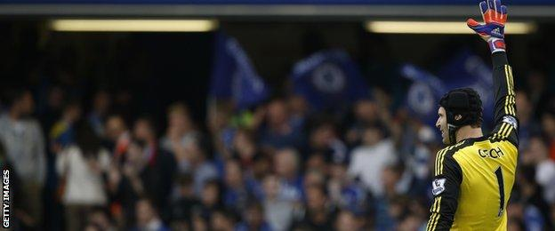 Petr Cech waves goodbye to Chelsea fans
