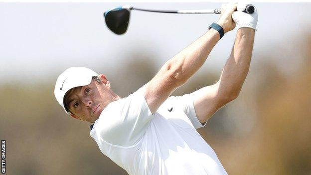 Rory McIlroy after hitting the ball