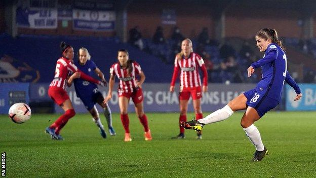 Maren Mjelde scores for Chelsea against Atletico Madrid in the first leg of their Champions League last 16 tie