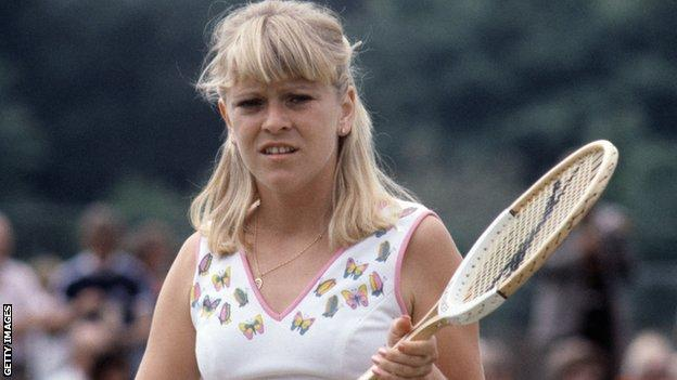 Sue Barker in action at Wimbledon as a 19-year-old in 1975
