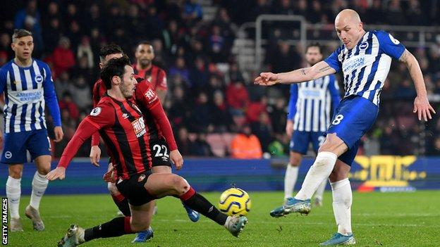Aaron Mooy scores for Brighton against Bournemouth