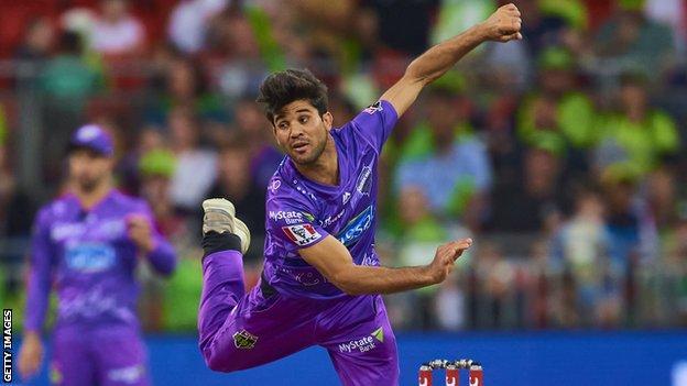 Qais Ahmad in action for Hobart Hurricanes