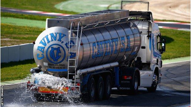 Lorry used to simulate wet weather conditions