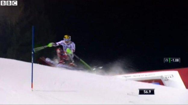 Hirscher was midway through his second run...