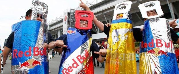 Fans in Red Bull suits