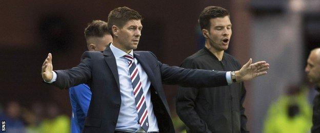 Steven Gerrard oversees Rangers' victory over FK Shkupi in Europa League qualifying
