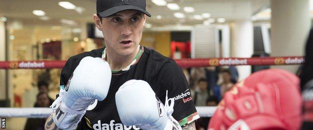 Ricky Burns during an open workout at Glasgow's St Enoch Centre