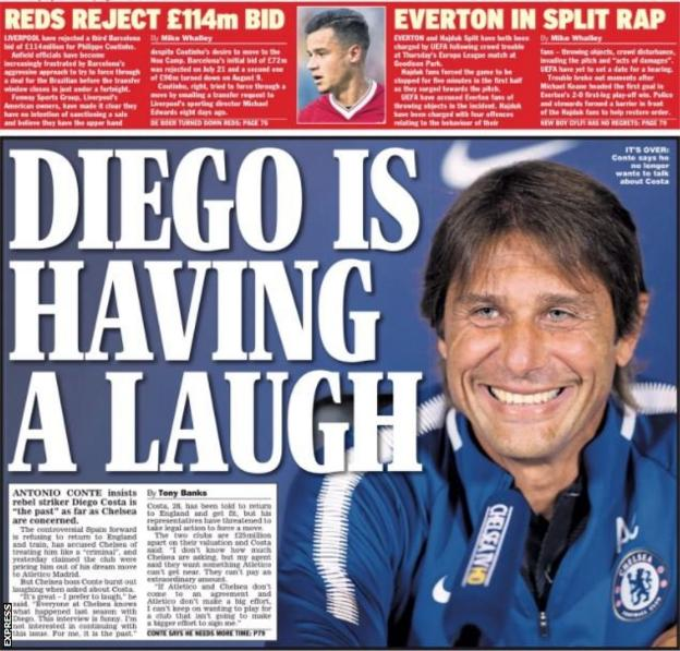 The Express back page on Saturday