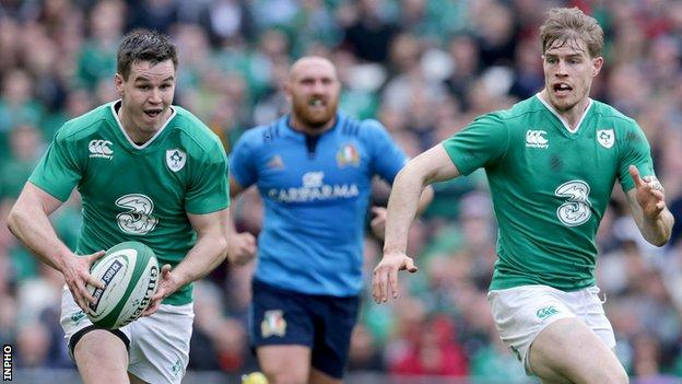 Johnny Sexton and Andrew Trimble in action against Italy last season