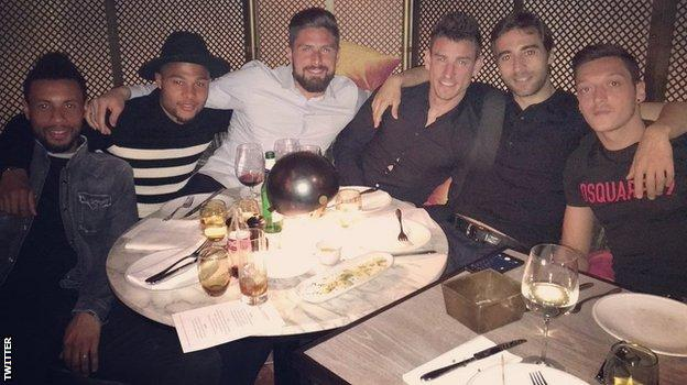 Arsenal team-mates Francis Coquelin, Serge Gnabry, Olivier Girioud, Laurent Koscielny, Mathieu Flamini and Mesut Ozil
