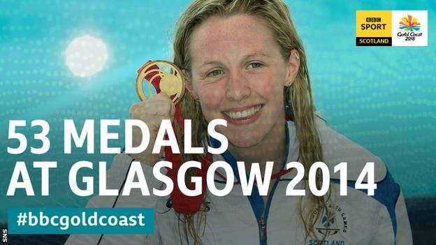 Hannah Miley shows off her gold medal in the 2014 Commonwealth Games 400m individual medal