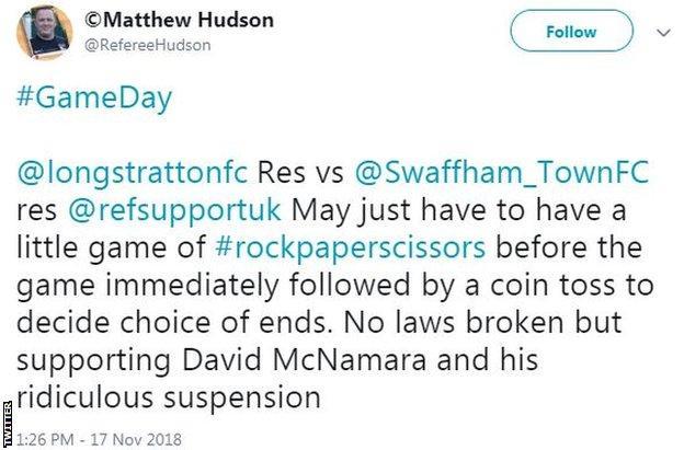 Matthew Hudson tweet in support of banned referee David McNamara