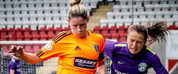 Lizzie Arnot (right) battles with Glasgow City captain Leanne Ross