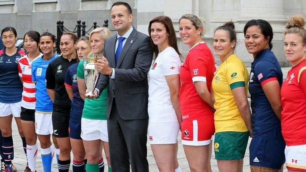 Ireland's Prime Minister Leo Varadkar with some of the team captains