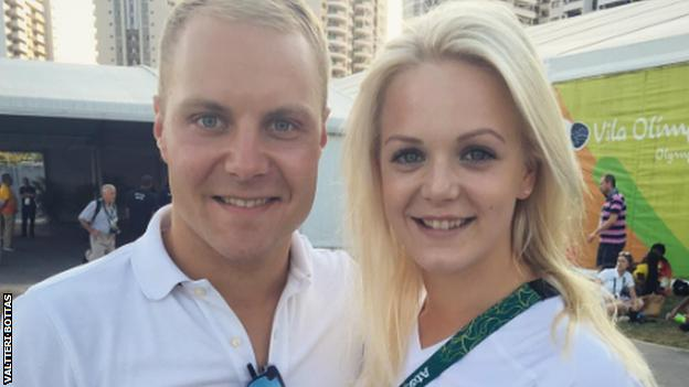 Valtteri Bottas and Emilia Pikkarainen at Rio Olympics