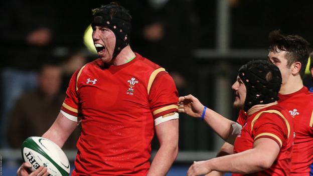 Adam Beard (left) celebrates scoring for Wales Under-20s in their win against Ireland in February 2016