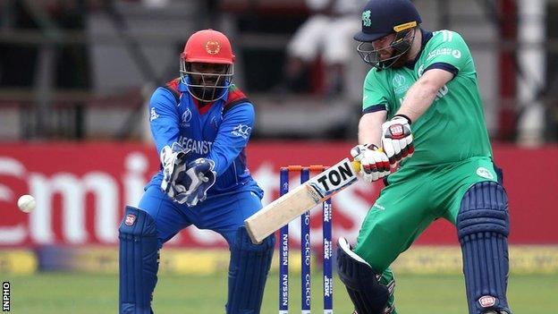 Ireland opener Paul Stirling plays a cut shot against Afghanistan