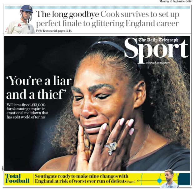 Daily Telegraph sport section on Monday
