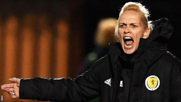 Shelley Kerr makes a point to her Scotland team during their 1-0 loss to USA
