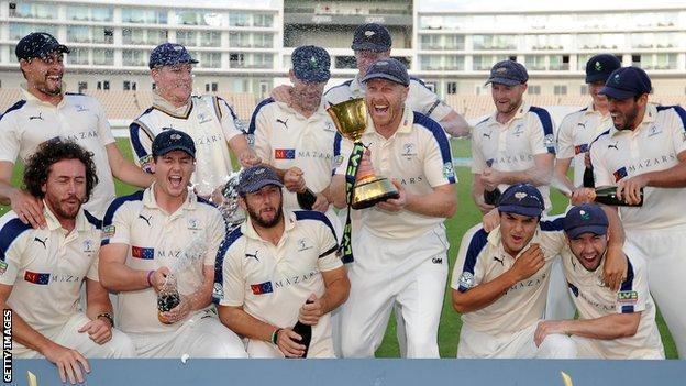 Yorkshire with the County Championship Cup