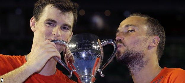 Jamie Murray partnered Bruno Soares (right) to victory in Melbourne