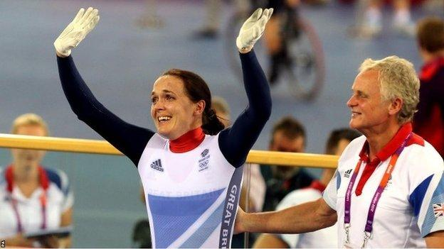 Great Britain's Victoria Pendleton with Prof Peters after claiming a silver medal during the women's sprint at the 2012 Olympics