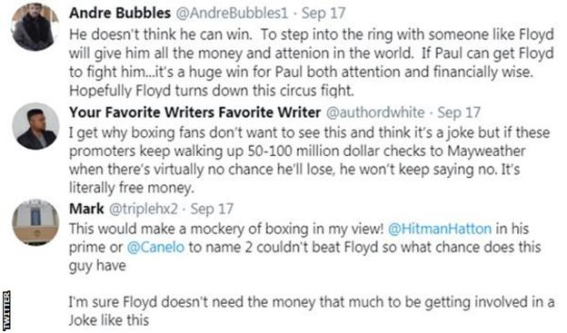 Boxing fans on Twitter react to reports that Floyd Mayweather has been approached by Logan Paul for an exhibition fight. One fan says
