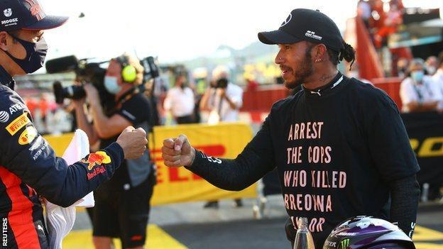 Alex Albon and Lewis Hamilton