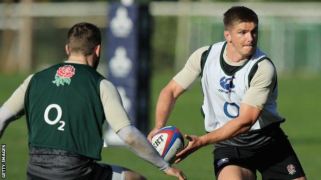 Owen Farrell pictured during England training
