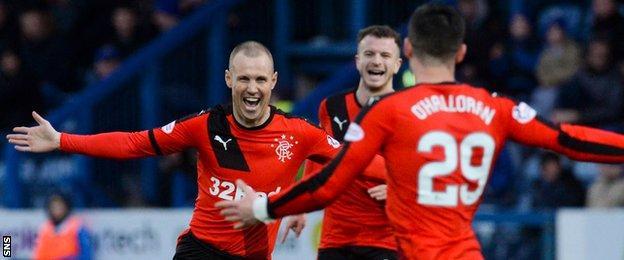 Kenny Miller celebrates after scoring for Rangers