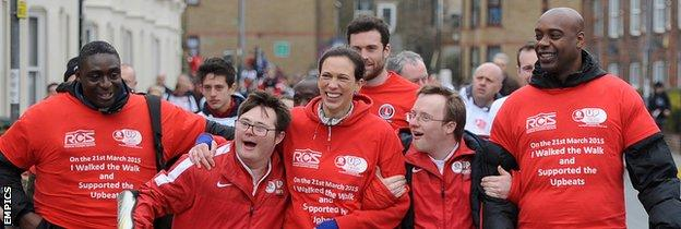 Richard Rufus takes part in a charity walk with fellow former Charlton player Carl Leaburn and club chief executive Katrien Meire