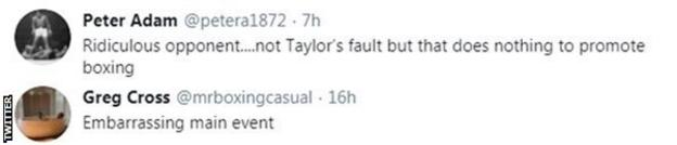 Boxing fans on Twitter react to Josh Taylor's win on Saturday but criticise the opponent, with one calling the fight an