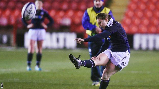 Sarah Law kicks a penalty to give Scotland Women victory over Wales