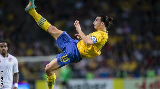 Zlatan Ibrahimovic scores for Sweden against England in 2012
