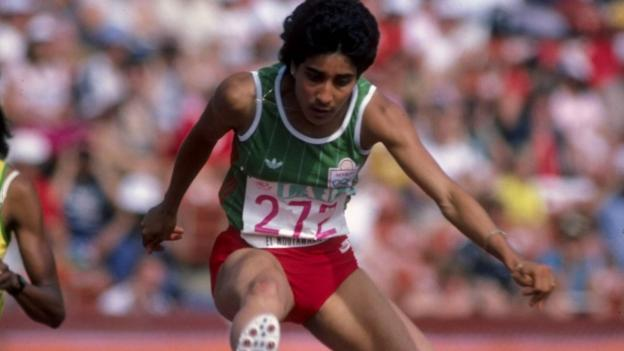 Nawal El Moutawakel competing in the 1984 Olympics