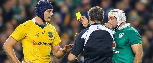 Australia flanker Dean Mumm saw yellow midway through the first half for a tip tackle on Tadhg Furlong