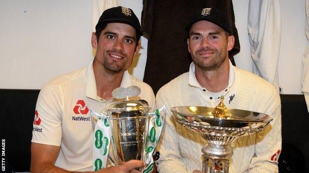 James Anderson & Alastair Cook after the India Test series