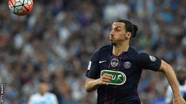 Ibrahimovic chases a pass