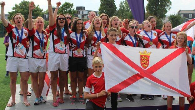 Jersey celebrate their Island Games gold medal