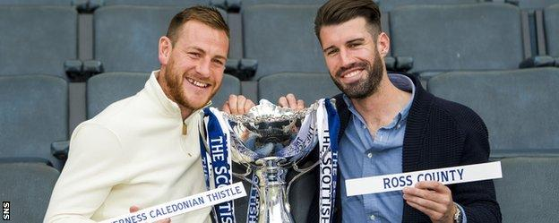 Inverness defender Gary Warren and Ross County midfielder Rocco Quinn