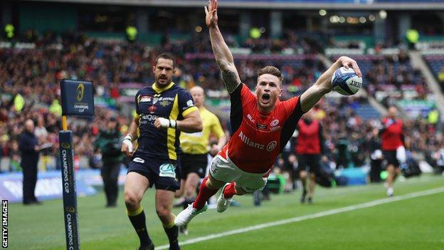 Chris Ashton dives over the line for Saracens' first try of the final