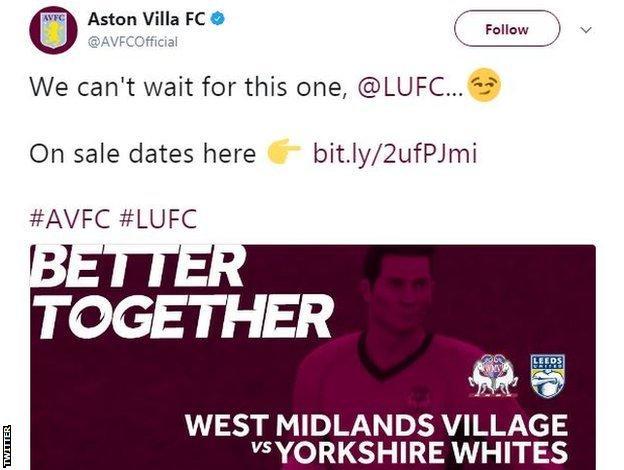 Aston Villa tweet