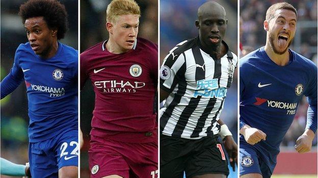 Willian (Chelsea), Kevin de Bruyne (Manchester City), Mohamed Diame (Newcastle), Eden Hazard (Chelsea)