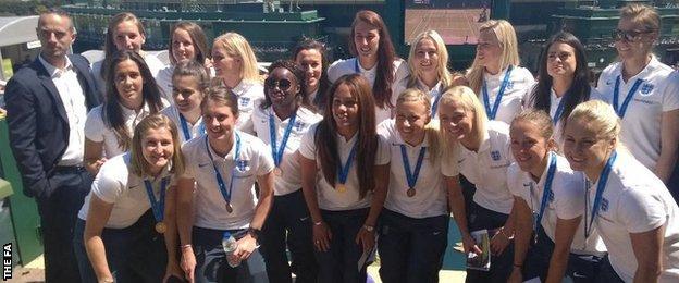 The England women's team at Wimbledon
