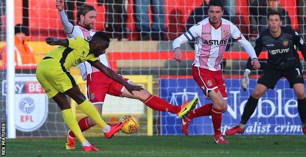 Cheltenham's Mohamed Eisa scores inside 90 second against Stevenage