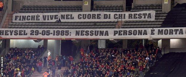 A banner at the game between Belgium and italy remembering those who lost their lives in the Heysel Stadium disaster