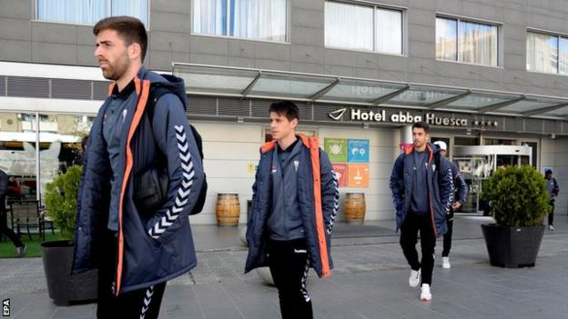 Albacete's players leave their hotel in Huesca after their Spanish second division game is postponed
